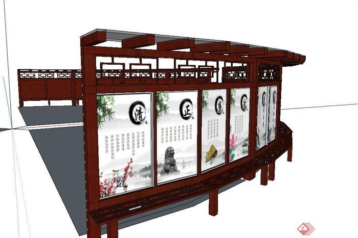 中式木质宣传栏园景设计su模型带效果图[原创]图片