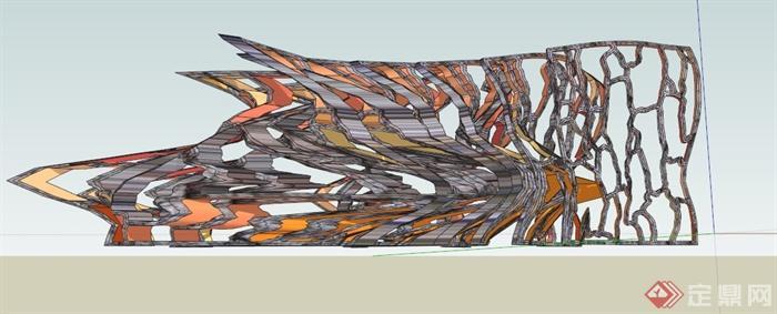 园林景观抽象雕塑su模型