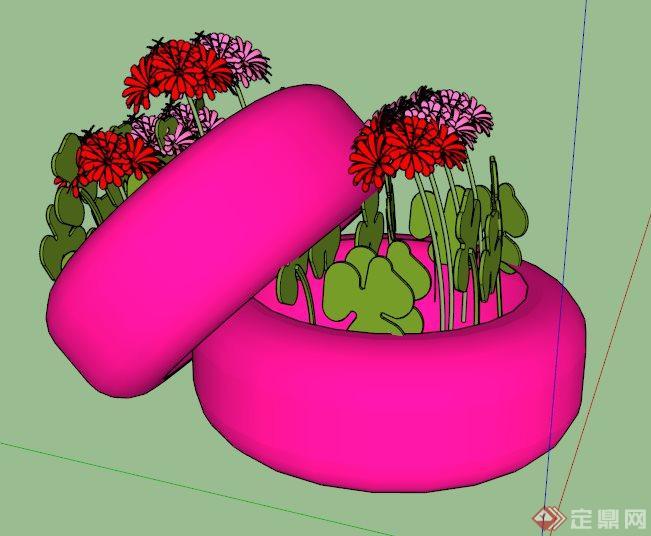 园林景观轮胎种植池模型su花池小学模板黑板报图片