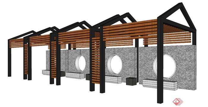 现代中式木板条廊架设计su模型