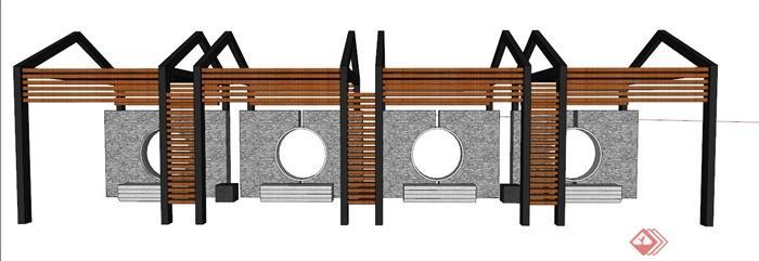 现代中式木板条廊架设计su模型(3)