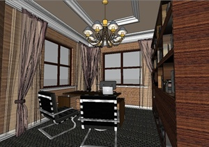 某现代书房设计SU(草图大师)模型