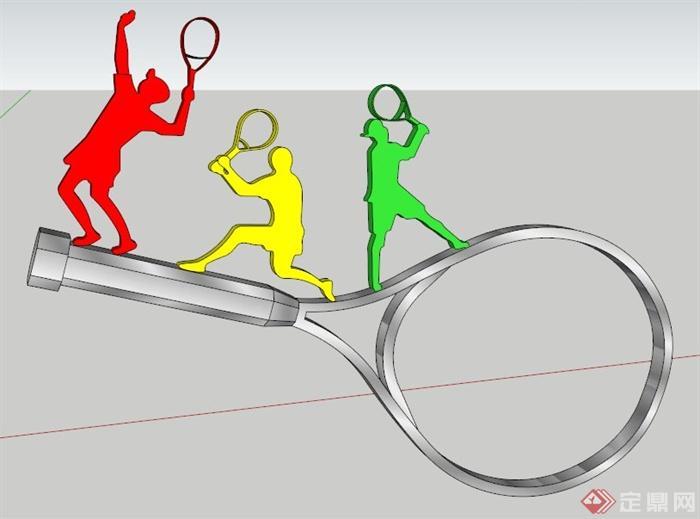 羽毛球拍运动雕塑su模型(1)