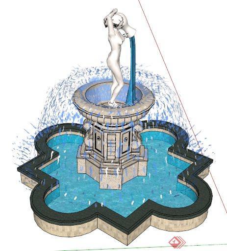 园林景观雕塑跌水喷泉水景su模型(3)