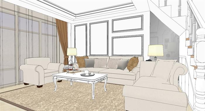欧式复式住宅一层室内设计su模型,一层包括客厅、餐厅、厨房三个区域,包含沙发茶几、电视机电视柜、橱柜、餐桌椅、吊灯、陈设,整体制作精细,带有材质贴图,供室内设计参考使用。