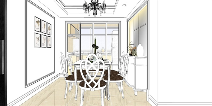 欧式复式住宅一层室内设计su模型