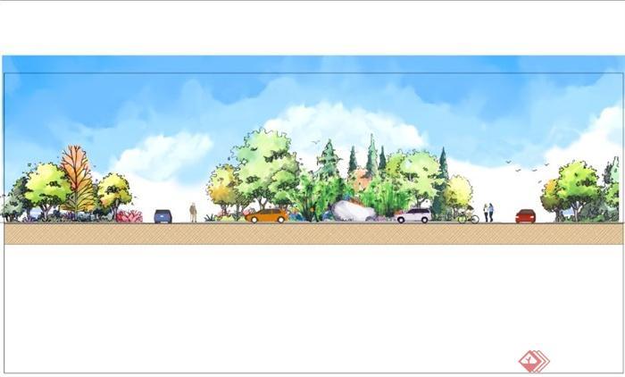 某小区交通道路景观断面psd效果图,素材图片中有植物立面,效果图图