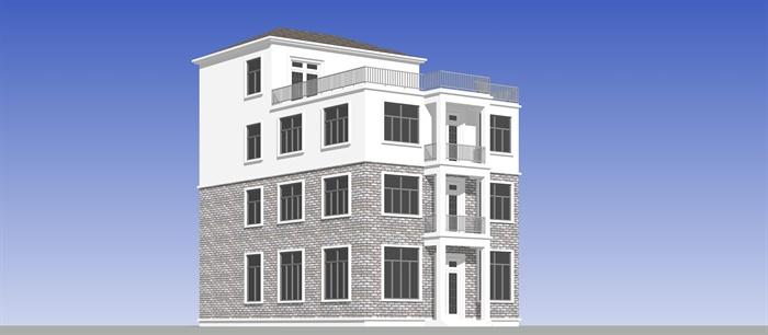 农村自建三层小别墅建筑设计SU模型