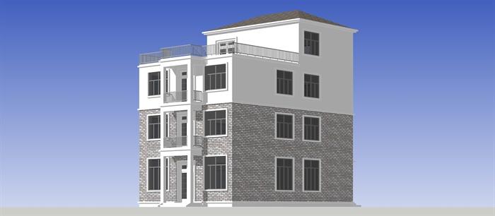 农村自建三层小别墅建筑设计SU模型图片