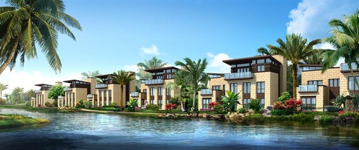 某欧式滨水别墅酒店会所建筑规划设计3dmax模型[原创