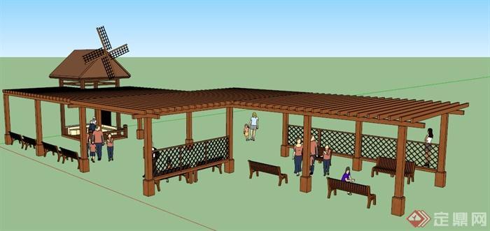 中式风格木制长廊架及风车亭设计su模型(1)