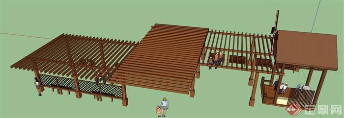 中式风格木制长廊架及风车亭设计su模型