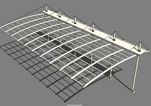玻璃幕墙、廊架、栏杆、张拉膜SU(草图大师)模型