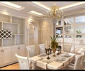 餐桌椅,餐具,花瓶插花,吊灯,置物柜,餐厅