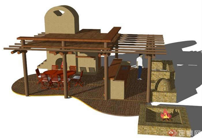 现代风格庭院廊架小场景su模型(2)