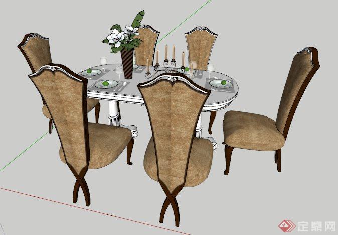 室内装饰欧式六人座餐桌椅su模型