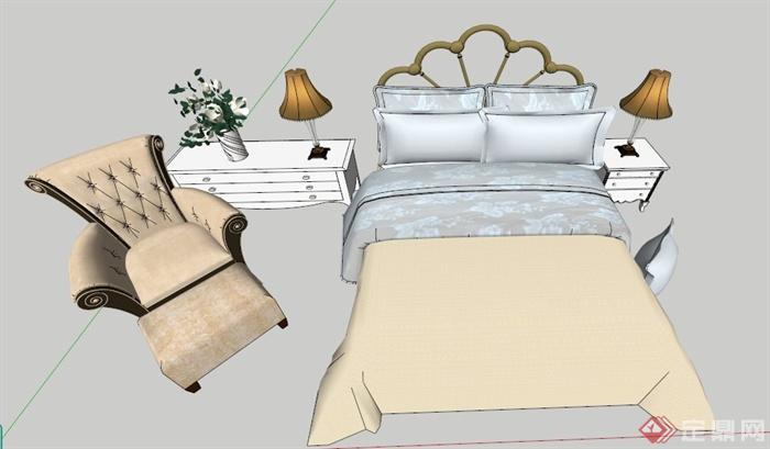 欧式风格双人床及沙发su模型