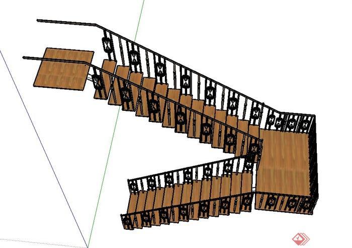 现代室内转折楼梯设计su模型