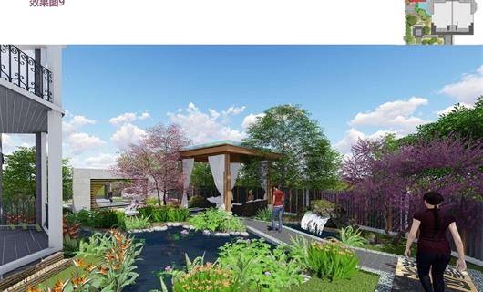 江山风华中式别墅庭院景观