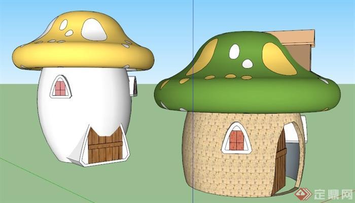 两款蘑菇小房子设计su模型