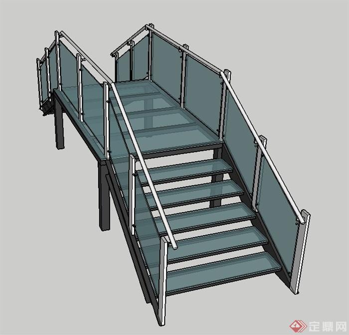 现代玻璃拱桥设计su模型