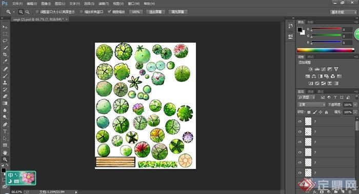 手绘样式植物平面ps素材