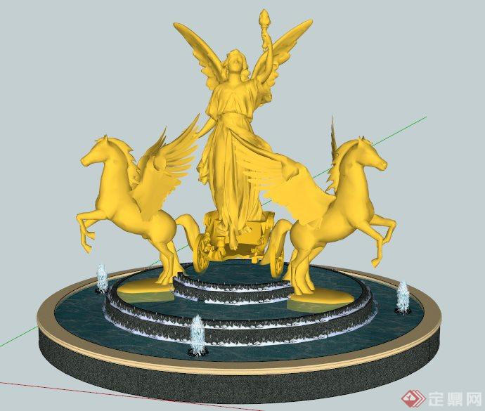 欧式风格雕塑喷泉水景su模型