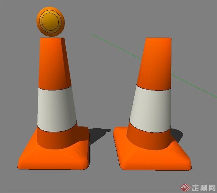 道路景观节点路障警示灯设计su模型