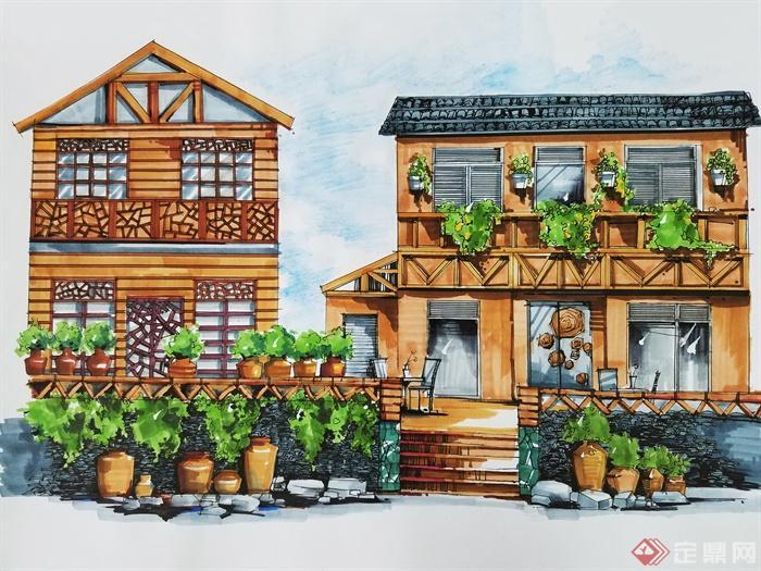 某住宅景观手绘效果图