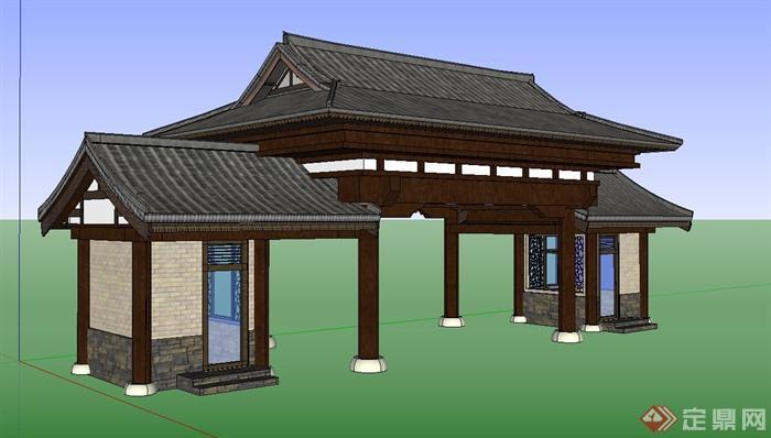 古典中式入口大门门楼设计su模型图片