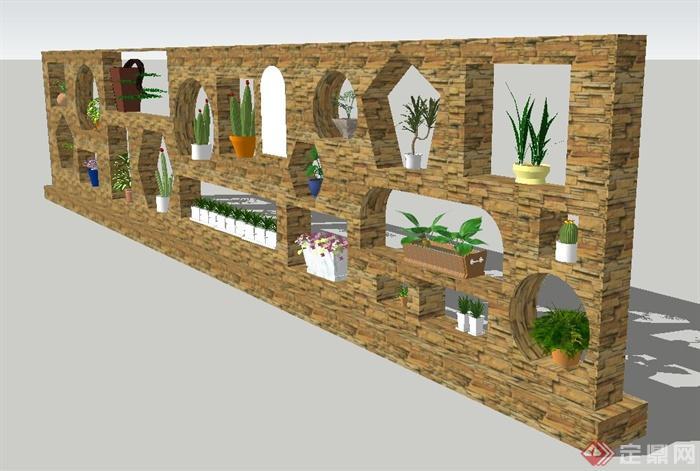 园林景观节点石头材质植物景墙设计su模型