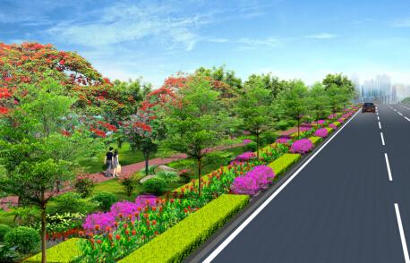 道路绿化景观设计_别墅绿化景观效果图_城市道路绿化景观