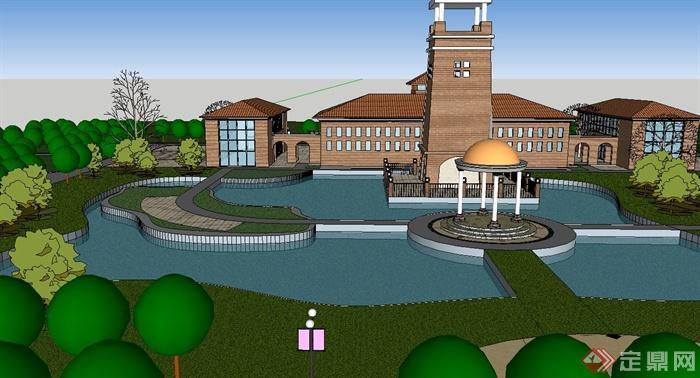 某欧式休闲会所酒店建筑su模型