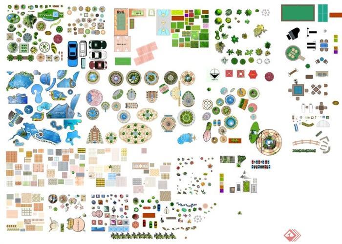 水体、草坪、水景、铺装ps平面素材(1)