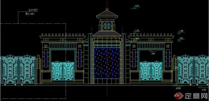 某欧式风格主入口大门景观设计CAD施工图,该图纸内容有主景立面图、节点立面图、平面图、节点详图等,具有一定的参考价值。