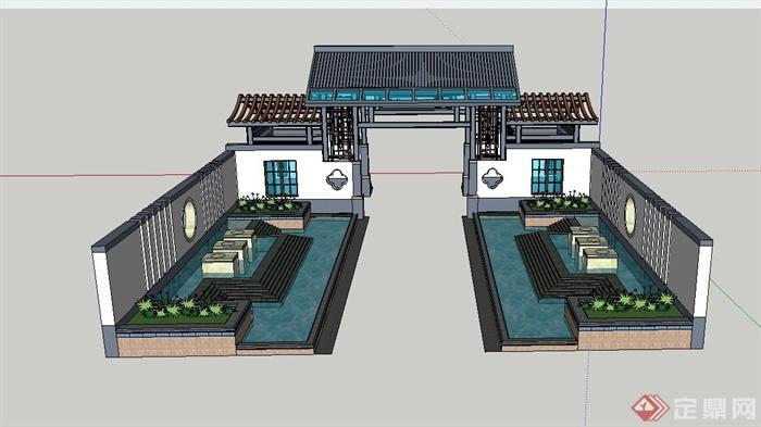 现代中式某入口大门设计su模型(3)图片