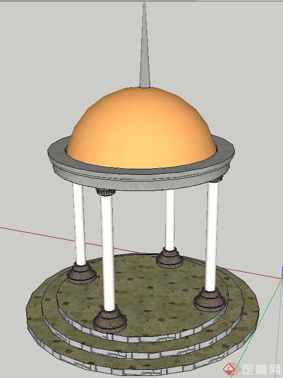 园林景观节点圆形欧式亭子设计su模型