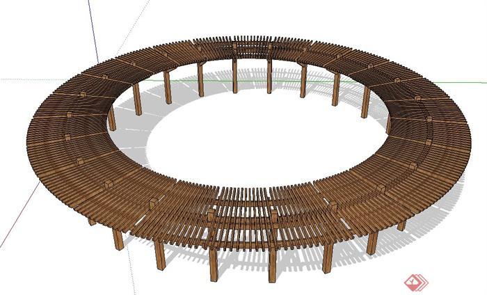 现代中式圆形廊架设计su模型(1)图片