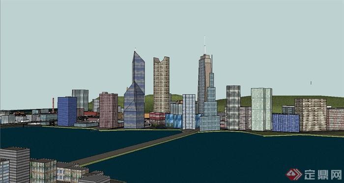 某沿海城市规划设计su模型(2)