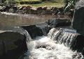 跌水小景,景石石头,卵石驳岸,自然石