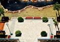 水景水池,卵石驳岸,自然石,地面铺装,路灯,树池