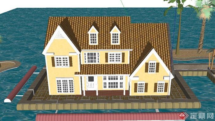 某两层坡屋顶海上房屋建筑设计su模型(1)