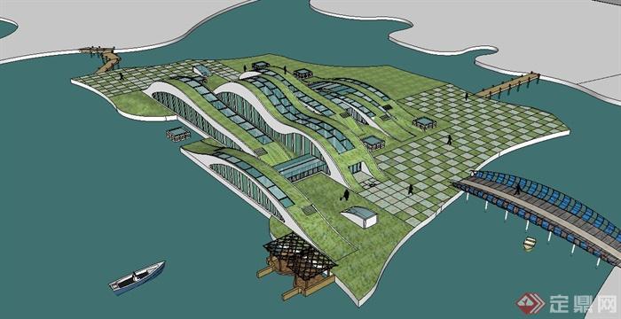 某滨海城市景观规划设计su模型(2)