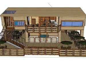 两层木质茶室建筑设计SU(草图大师)模型