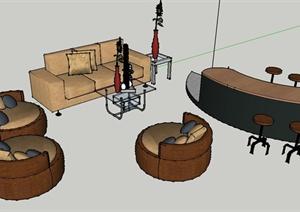 现代某办公室休息区家具设计SU(草图大师)模型