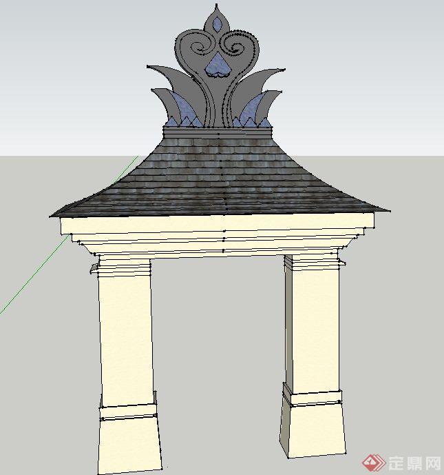 园林景观节点东南亚风格门廊设计SU模型