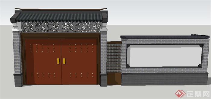 别墅欧式围墙大门效果图