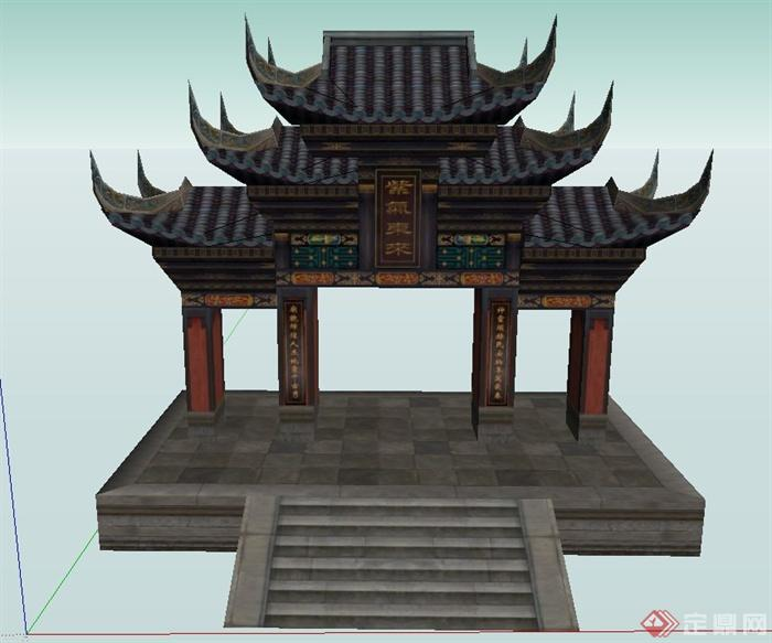古典中式三层屋檐门廊设计su模型(1)图片