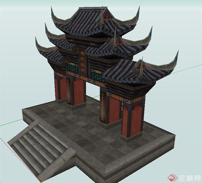 古典中式三层屋檐门廊设计su模型(2)图片