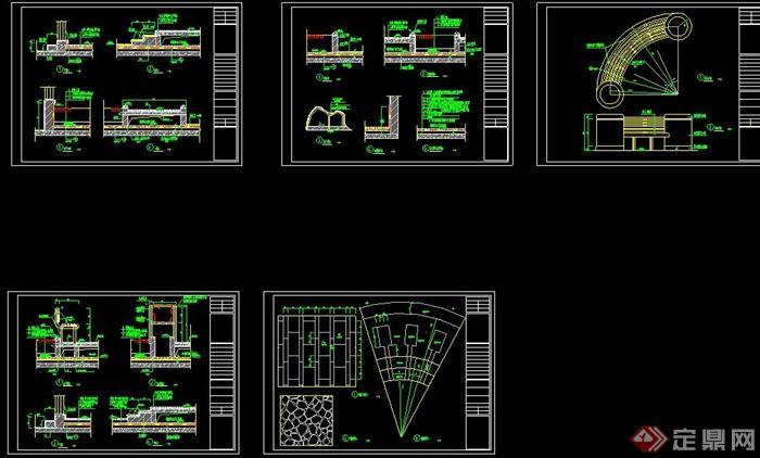 屋顶花园景观节点设计cad施工图[原创]